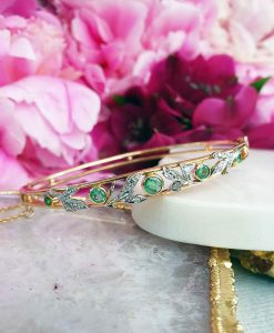 Vintage Style 14ct Yellow Gold Emerald & Diamond Bangle
