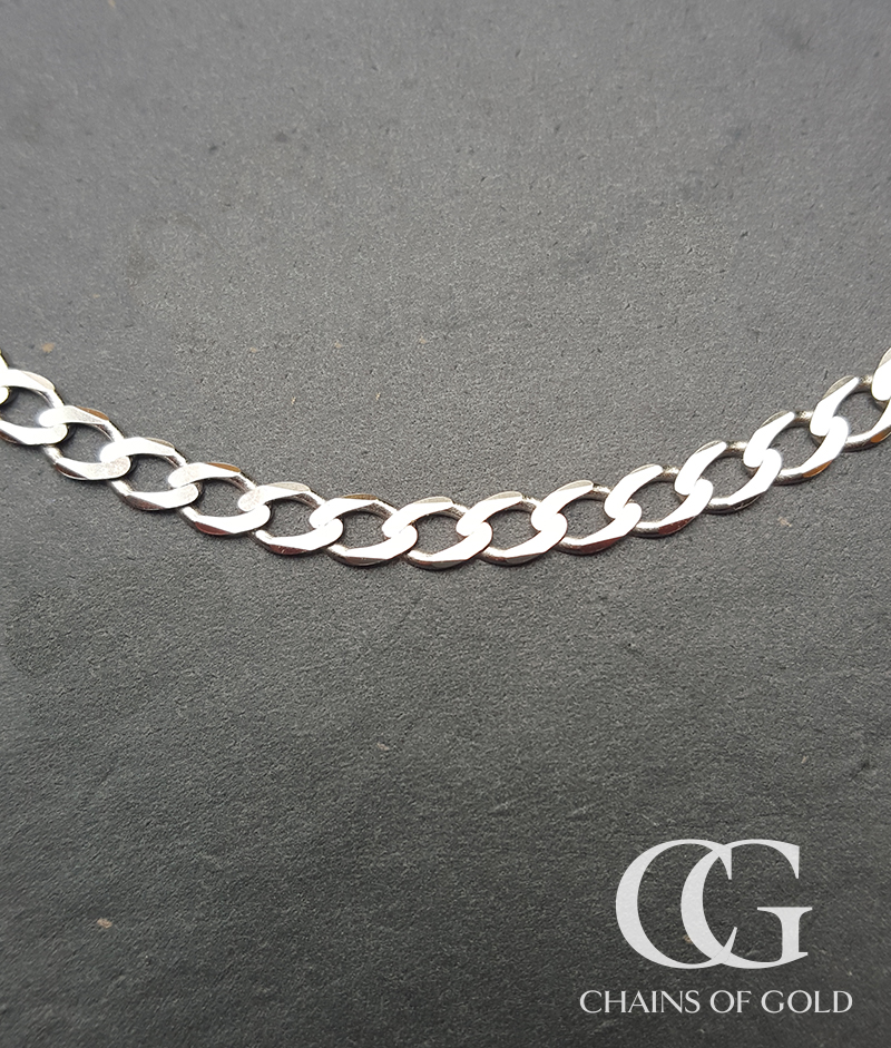 Men S Ladies Solid 9ct White Gold Curb Chain Necklace 20