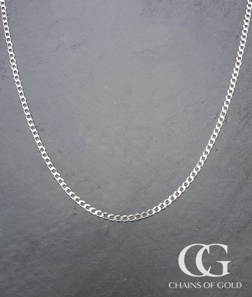 Men's Ladies Solid 9ct White Gold Curb Chain Necklace 20 ...