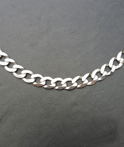 "9ct White Gold 6mm Diamond Cut Curb Chain Necklace 20"" 22"" 24"""
