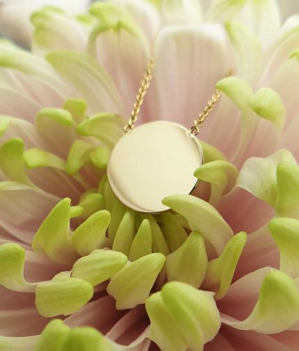 Personalised Fine 9ct Gold Disc Necklace in Yellow or Rose Gold