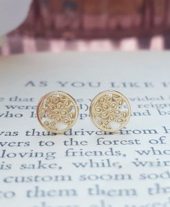 Delicate 9ct Yellow Gold Filigree Stud Earrings