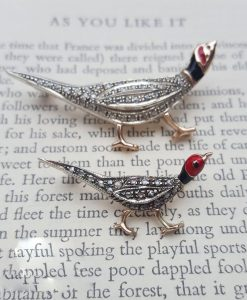 Victorian Inspired 9ct Rose Gold & Diamonds Pheasant Brooch Pin