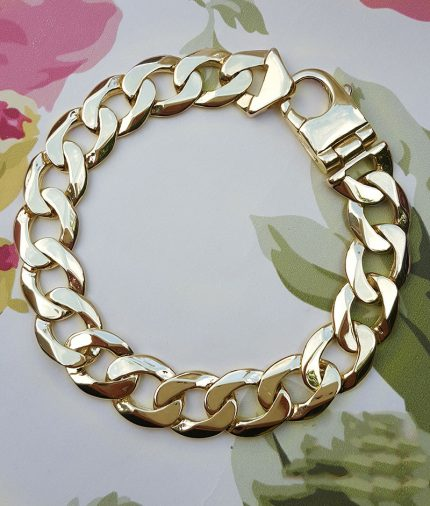 Men's 9ct Yellow Gold Chunky Solid Curb Bracelet 50 Grams