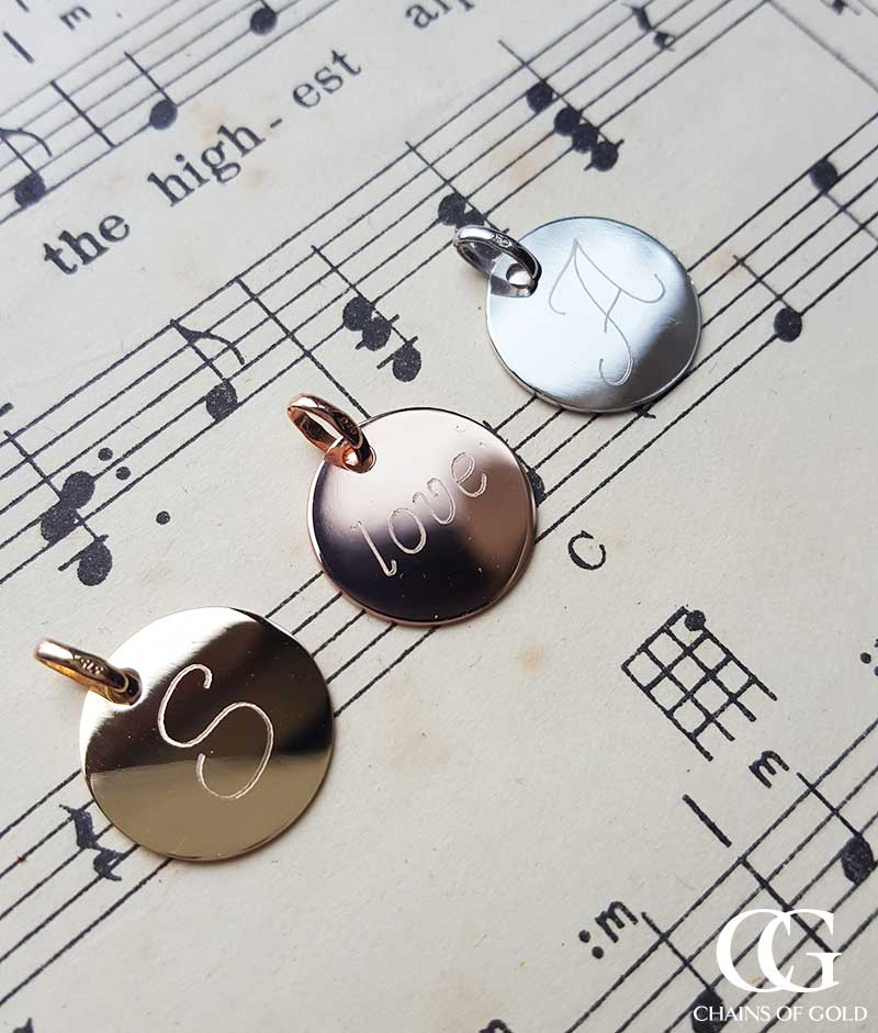Solid gold discs for enraving necklace pendant