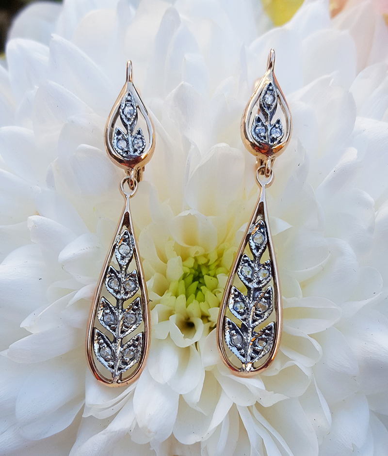 f0190df08 Edwardian Style 9ct Rose Gold & Diamond Garland Tear Drop Earrings
