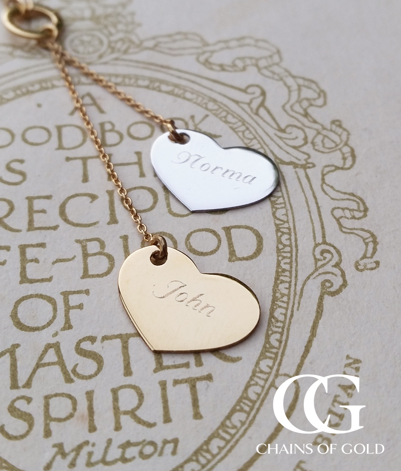 9ct Two Tone Gold Polished Double Heart Necklace