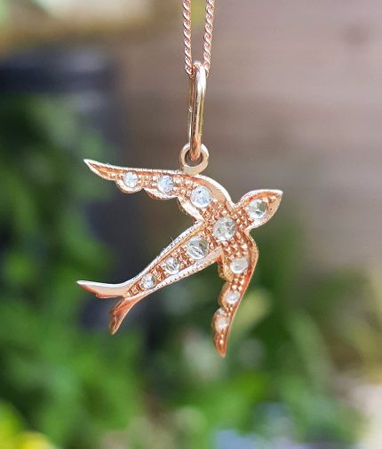 rose gold swallow bird pendant necklace