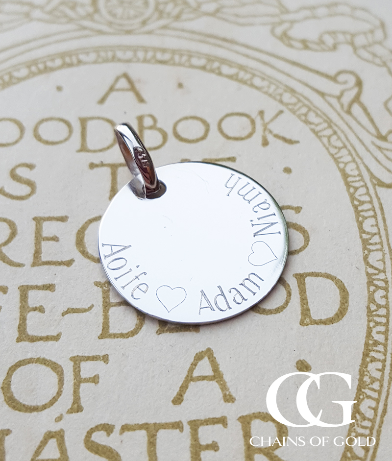 9ct White Gold Engraved Disc Necklace