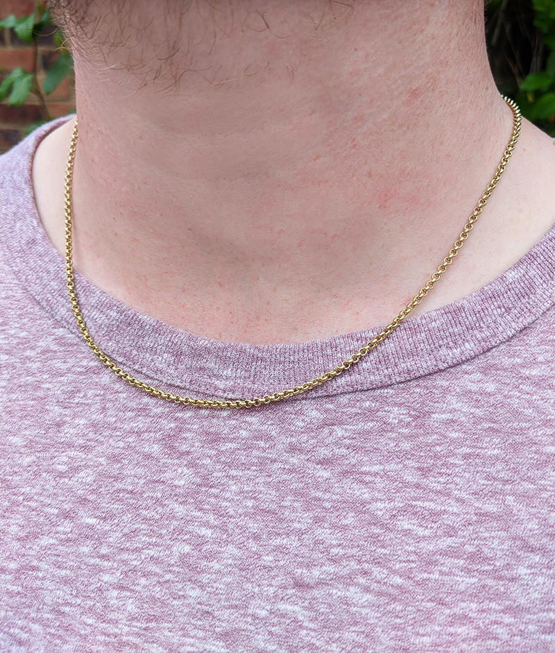 474a9305cc75e Solid 9ct Yellow Gold 2.2mm Belcher Chain Necklace 20