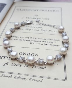 Bridal pearl and cubic zirconia bracelet