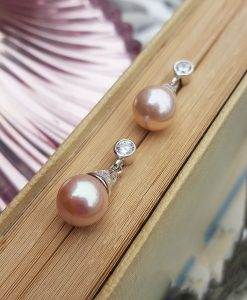 Vintage Pink Pearl drop earrings with cubic zirconia