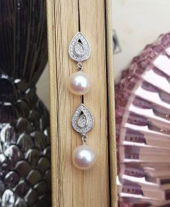 Vintage style bridal pearl earrings
