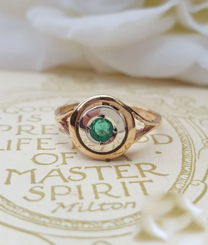 Art Deco Inspired 9ct Rose Gold & Sapphire, Ruby or Emerald Target Ring
