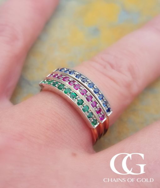 9ct Rose Gold Half Eternity Stacking Ring Ruby Emerald
