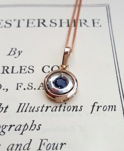 Vintage target pendant in Rose Gold and Blue Sapphire