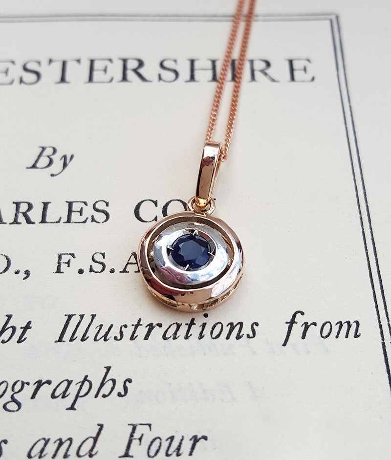 Art Deco 9ct Rose Gold Sapphire Or Ruby Target Pendant Necklace