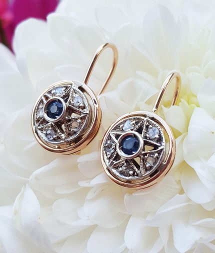 Victorian style srop earrings with diamonds and sapphire
