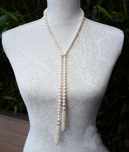 38'' Freshwater pearl necklace with tassels