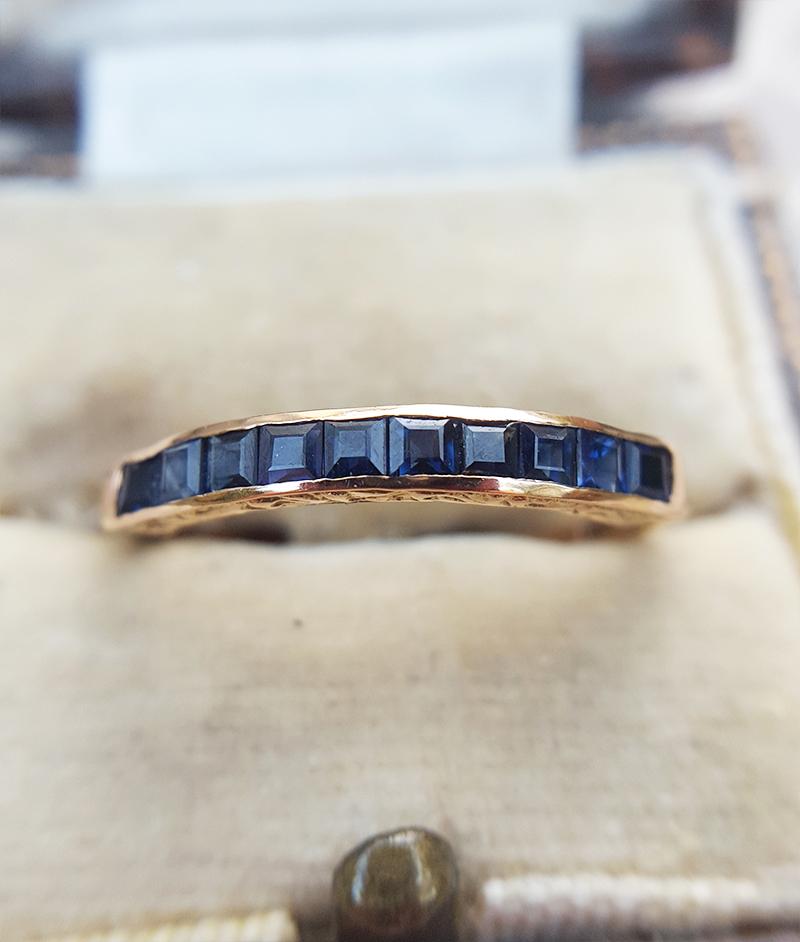 Art Deco Inspired 9ct Rose Gold Blue Sapphire Half