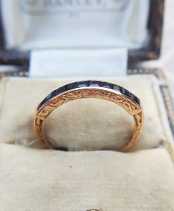 Vintage Inspired 9ct Rose Gold Blue Sapphire Half Eternity Ring