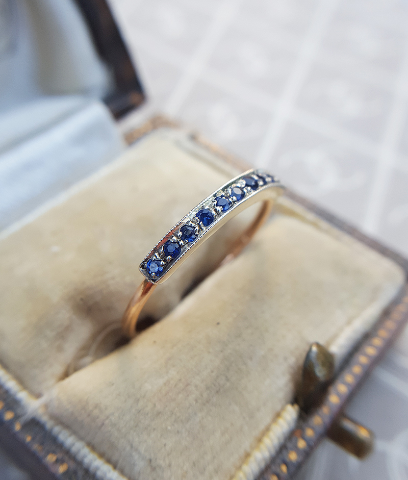 7913555efc087 9ct Rose Gold Stackable Half Eternity Ring: Ruby, Emerald or Sapphire