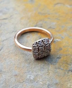 Vintage Inspired 9ct Rose Gold & Diamond Square Ring
