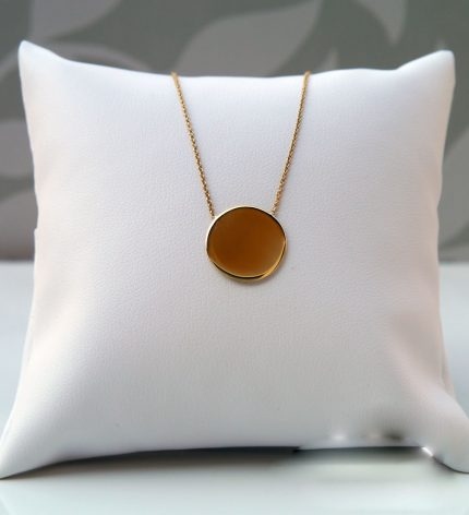 9ct yellow gold polished disc necklace pendant