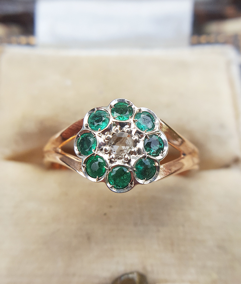 Edwardian Style 9ct Rose Gold Emerald Ruby Or Diamond