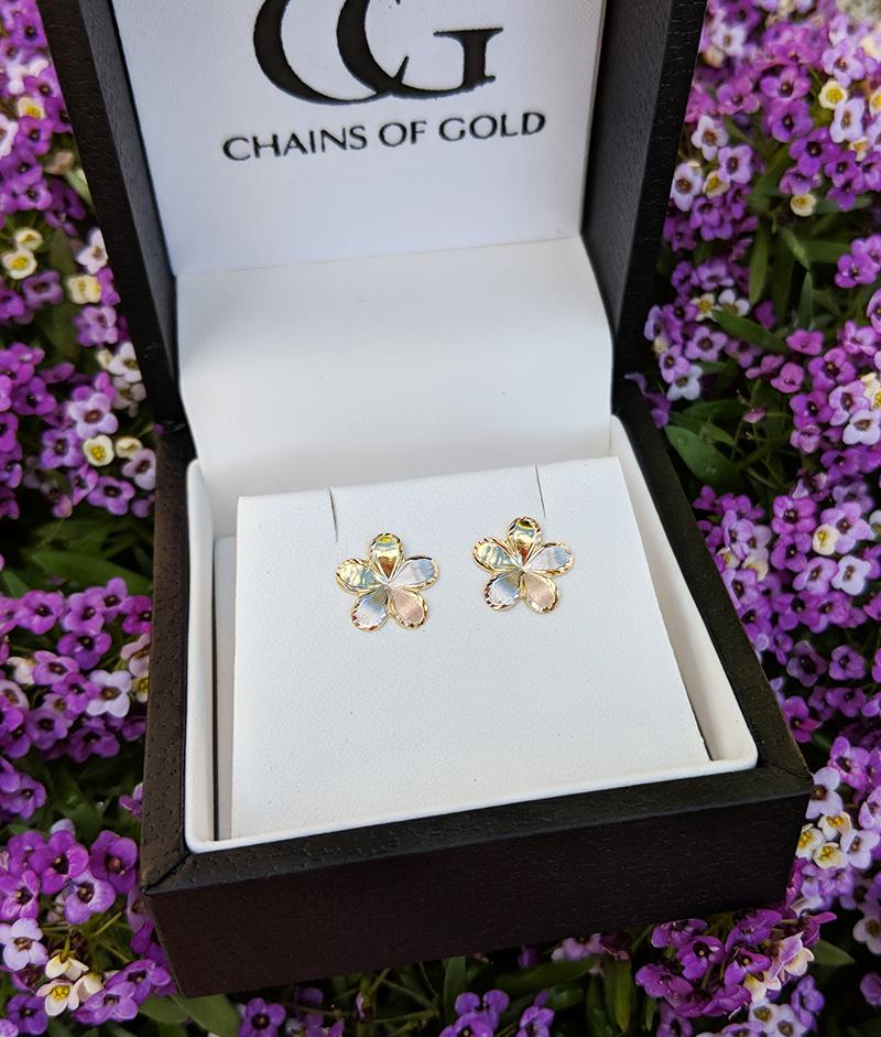 866051317 9ct yellow gold cranesbill flower earrings. Flower stud earrings