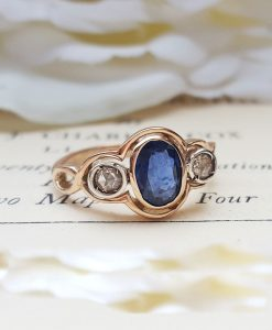 Art Deco Inspired 9ct Rose Gold, Blue Sapphire & Diamond Three Stone Ring