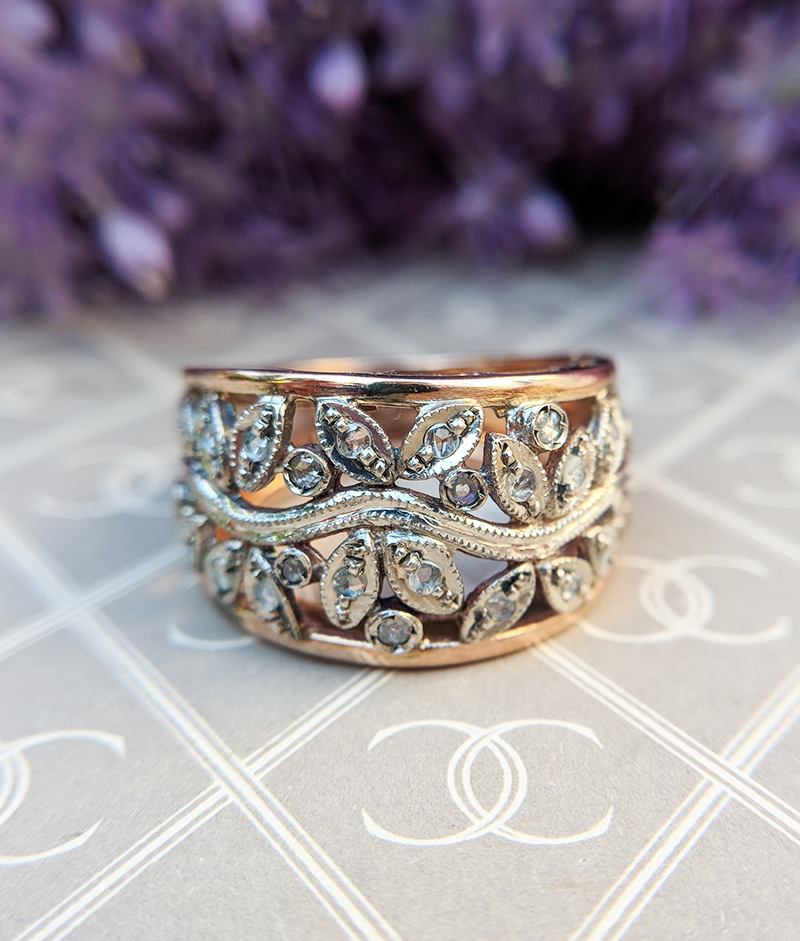 Antique Inspired 9ct Rose Gold Diamond Amp Ruby Flower