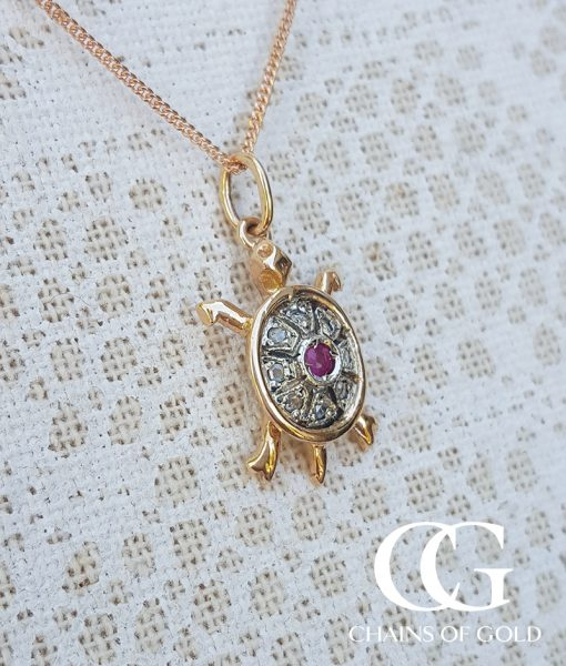 Vintage rose gold turtle necklace with diamond sapphire or ruby add to wishlist loading aloadofball Image collections