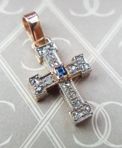 Victorian Inspired 9ct Rose Gold Diamond & Sapphire Cross