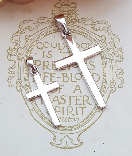Sterling Silver Classic Plain Cross Necklace (Medium & Large)