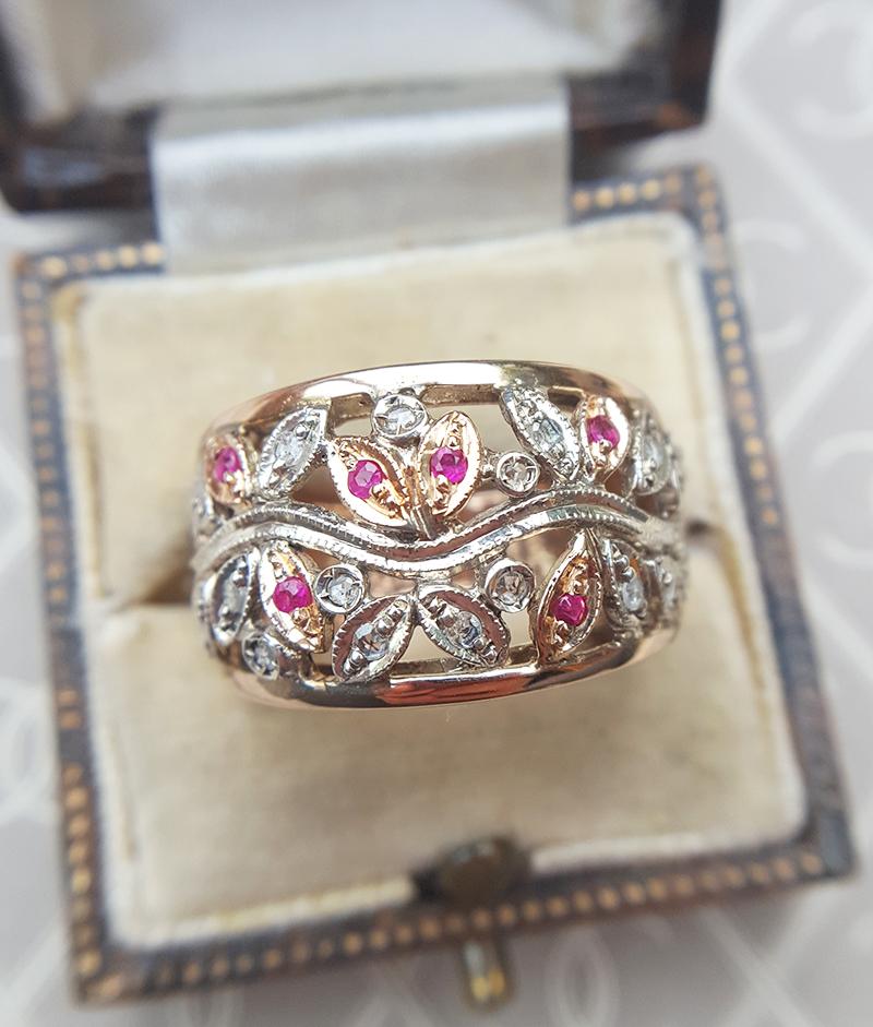 Antique Inspired 9ct Rose Gold Diamond Amp Ruby Flower
