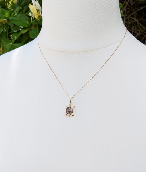 Vintage rose gold turtle necklace with diamond sapphire or ruby add to wishlist loading mozeypictures Images