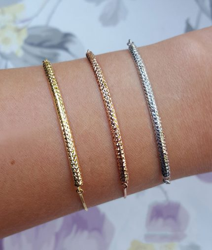 9ct Gold Diamond Cut Adjustable Banglet in Yellow, White or Rose
