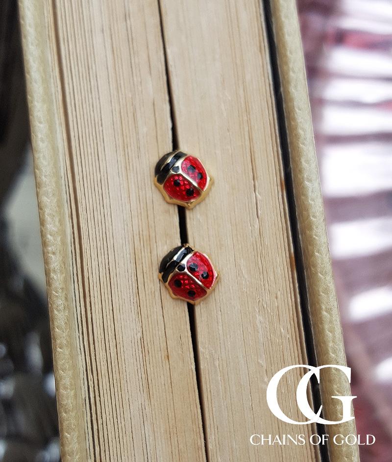 Children S 9ct Yellow Gold Amp Enamel Ladybird Stud Earrings