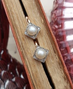 Art deco drop earrings with pearl and diamonds