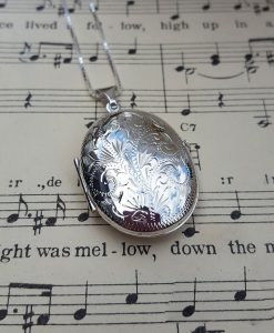 Large Sterling Silver Engraved Oval Locket Necklace