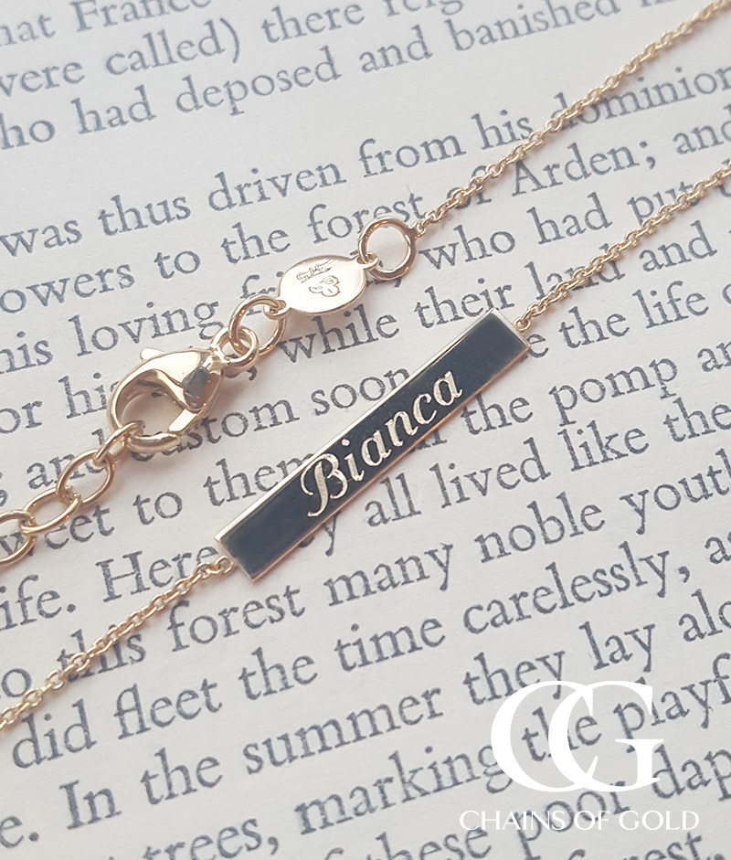 75164c3b668 Personalised Solid 9ct Gold Bar Necklace in Rose or Yellow