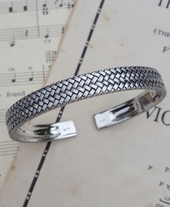 Men's Sterling Silver Herringbone Bangle