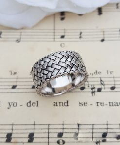 Men's Sterling Silver Herringbone Ring