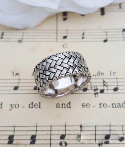 Men's Sterling Silver Herringbone Ring