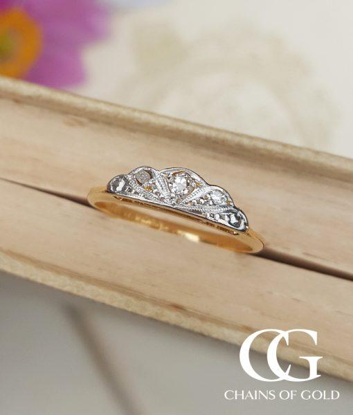 antique deco 18ct yellow gold platinum ring