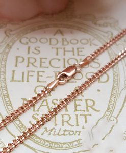 "9ct Rose Gold 2mm Curb Chain Necklace 18"" 20"" 22"""