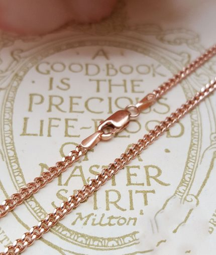 """9ct Rose Gold 2mm Curb Chain Necklace 18"""" 20"""" 22"""""""