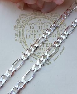 "Men's Chunky 6mm Sterling Silver Figaro Chain Necklace 20"" 22"""