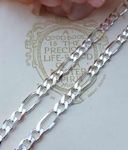 """Men's Chunky 6mm Sterling Silver Figaro Chain Necklace 20"""" 22"""""""